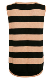 Annemarie Striped Vest | Tannin Melange| Stribet vest fra Culture