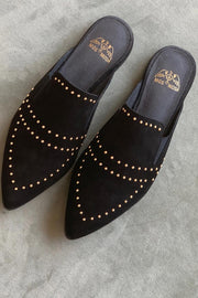 Boston Suede Flat | Sort | Loafers med nitter fra Mos Mosh