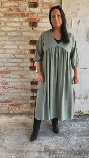 Vigga Maxi Dress | Army | Lang kjole fra Black Colour