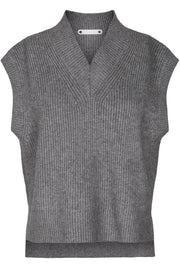 Anisa Vest Knit | Mid Grey | Strik vest fra Co'Couture
