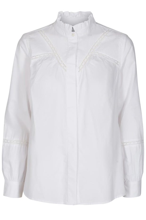 Silla Lace Blouse | Hvid | Skjorte med broderie anglaise fra Co'Couture