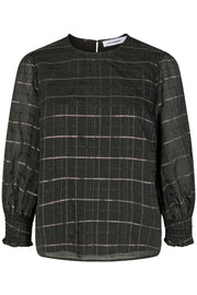 Luu Check Smock Blouse | Sort | Ternet bluse fra Co'Couture
