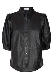 Briela Leather Shirt | Black | Læder skjorte fra Co'Couture