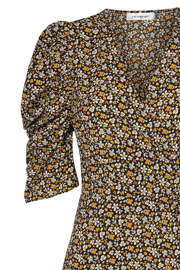Alina Flower Wrap Dress | Mustard | Slå-om kjole fra Co'Couture