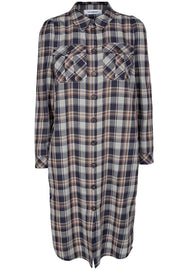 Uni Check Shirt Dress | Navy | Skjortekjole fra Co'Couture