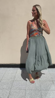 Heidi skirt | Army | Maxi nederdel fra Black Colour
