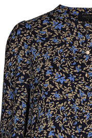 Adney Shirt Pleat Ello | Navy | Skjorte med blomsterprint fra Freequent