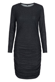 Alma Long Dress | Leo / Black | Kjole med rynker fra Liberté Essentiel