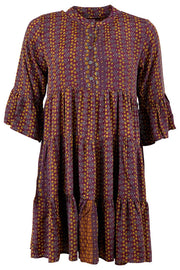 Luna Boho Dress | Violet gold | Kjole med print fra Black Colour