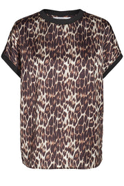 NORMA ANIMAL SATEEN TOP | Leopard | Satin top fra CO'COUTURE