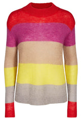 CHRISTY MIX KNIT | Red | Stribet strik bluse fra CO'COUTURE