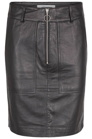 GEORGIA LEATHER SKIRT | Black | Læder nederdel fra CO'COUTURE