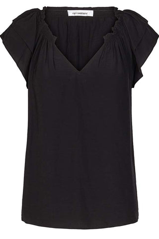 SUNRISE TOP S/S SHIRT | Black | Sort sommertop fra CO'COUTURE
