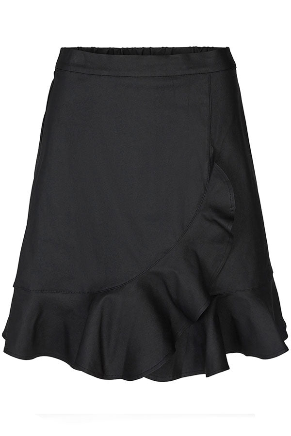 Emmy Coated Skirt | Black | Coated nederdel med flæse fra Co'Couture