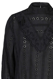 Alaine Anglaise Blouse L/S Shirt | Black | Skjorte fra Co'Couture