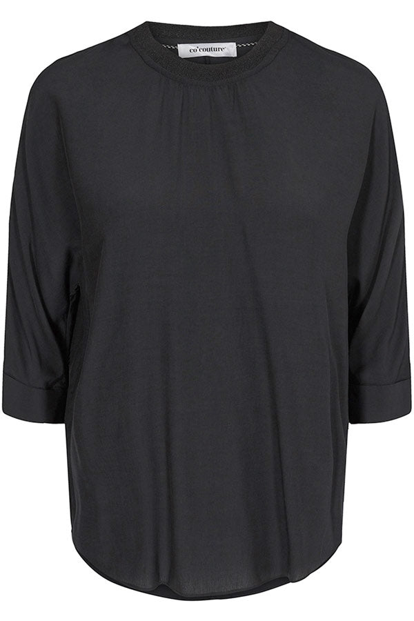 Norma Blouse | Sort | Bluse med 3/4 ærme fra Co'Couture