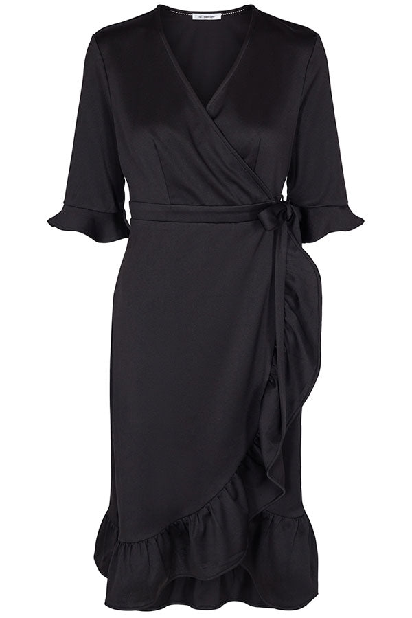 PLAIN WRAP DRESS | Sort | Kjole fra CO'COUTURE