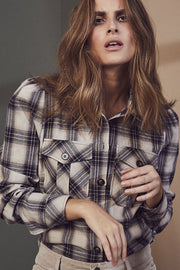 Lison Check Shirt | Bone | Skjorte med tern fra Co'Couture