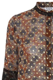Stella Dress | Brown Flower | Kjole med print fra Emm Copenhagen