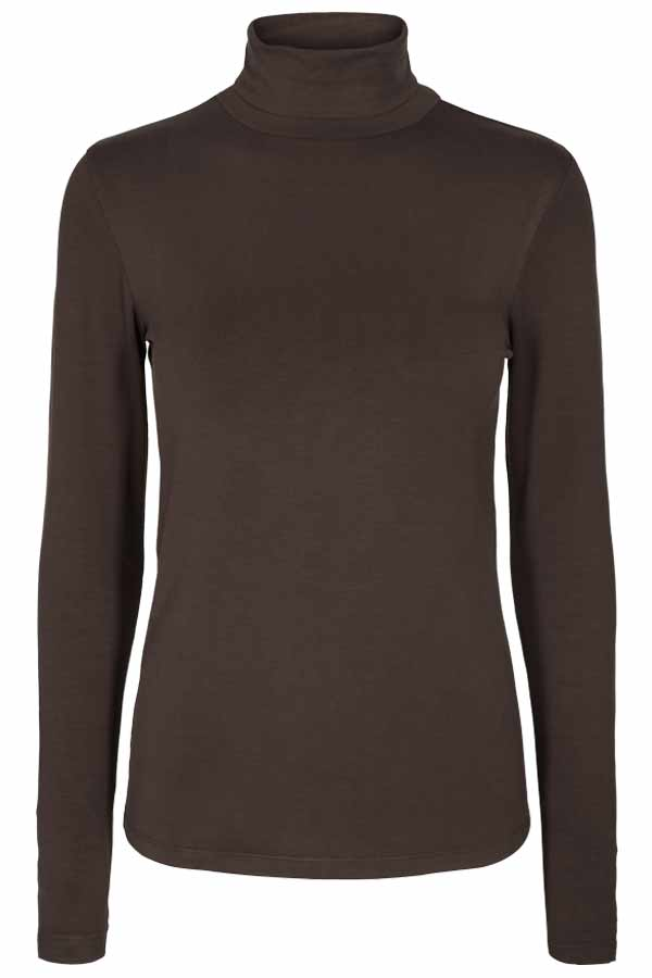 Liana LS | Chicory Coffee | Bluse med rullekrave fra Freequent