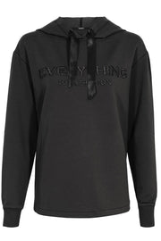Hoodie with embroidery | Sort | Sweatshirt fra Gustav