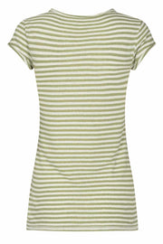 Troy Stripe Tee ss | Oil green | T-shirt fra Mos Mosh
