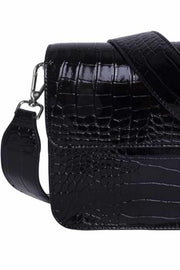 Cayman Shiny Strap Bag | Black | Sort laktaske fra Hvisk