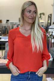 Nicco Balloon blouse | Rød | Bluse fra Freequent