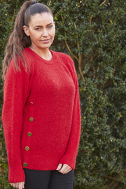 Eloise Button Knit | Rio Red | Strik med knapdetaljer fra Co'Couture