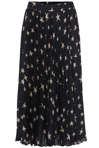 STAR PLEATED SKIRT | Sort | Plisse nederdel fra KARMAMIA