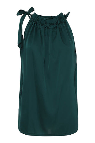 RUFFLE TIE TOP | Dark green | Top fra KARMAMIA CPH