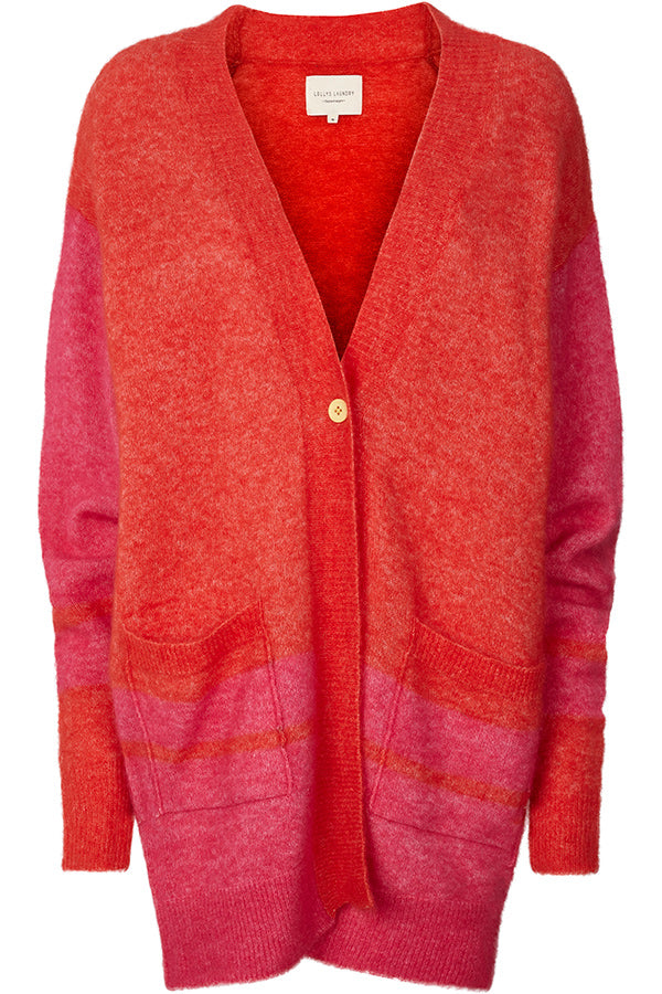 CARRIE CARDIGAN | Rød | Strik cardigan fra LOLLYS LAUNDRY