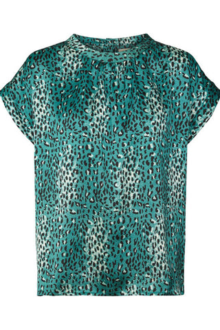 DEVA TOP | Turkis blå | Leopard top fra LOLLY'S LAUNDRY