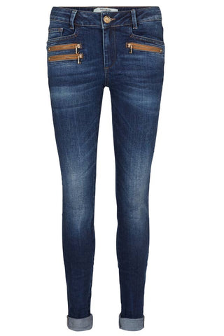 BERLIN ZIP LONG | Dark blue denim | Jeans fra Mos Mosh