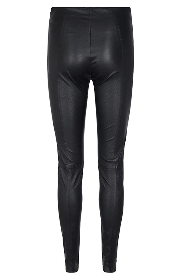 LUCILLE STRECH LEATHER | Sort | Læder leggings fra MOS MOSH