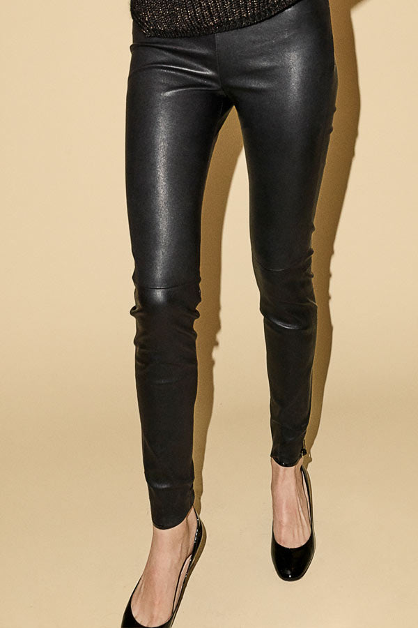 Lucille Stretch Leather Legging | Sort | Læder leggings fra MOS MOSH