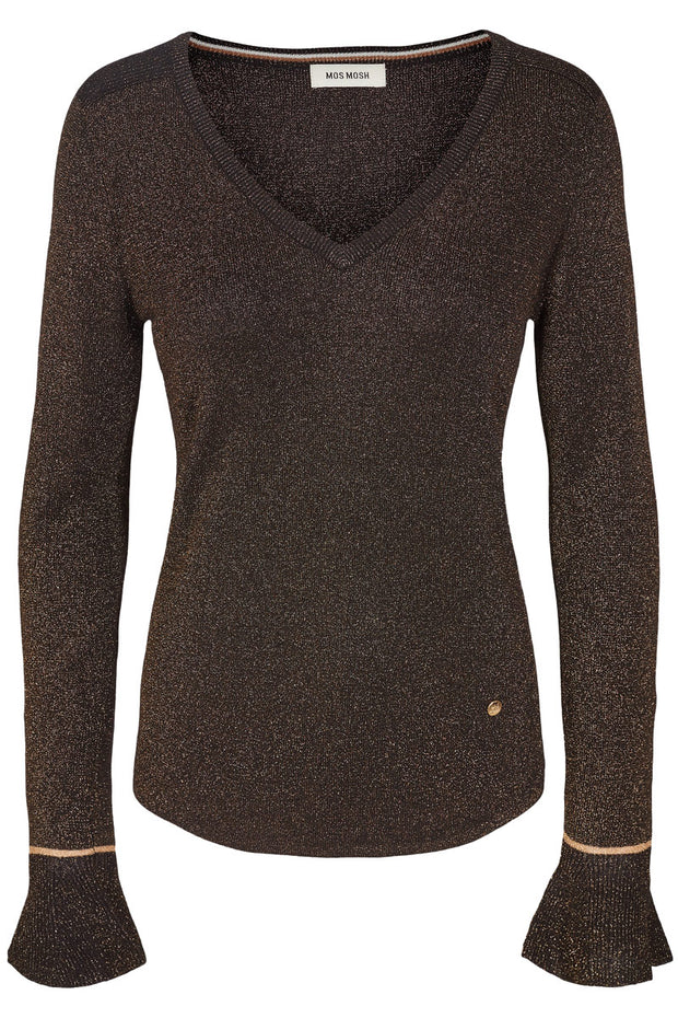 JEWEL KNIT LS | Sort | Strik bluse fra MOS MOSH