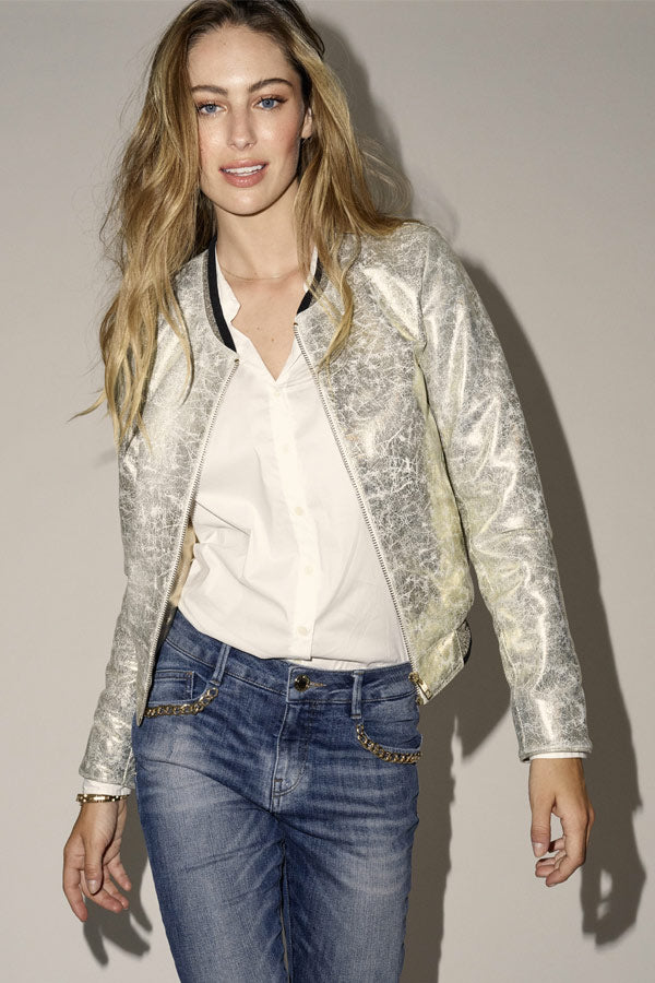FRANCES LEATHER JACKET | Gold | Læderjakke fra MOS MOSH
