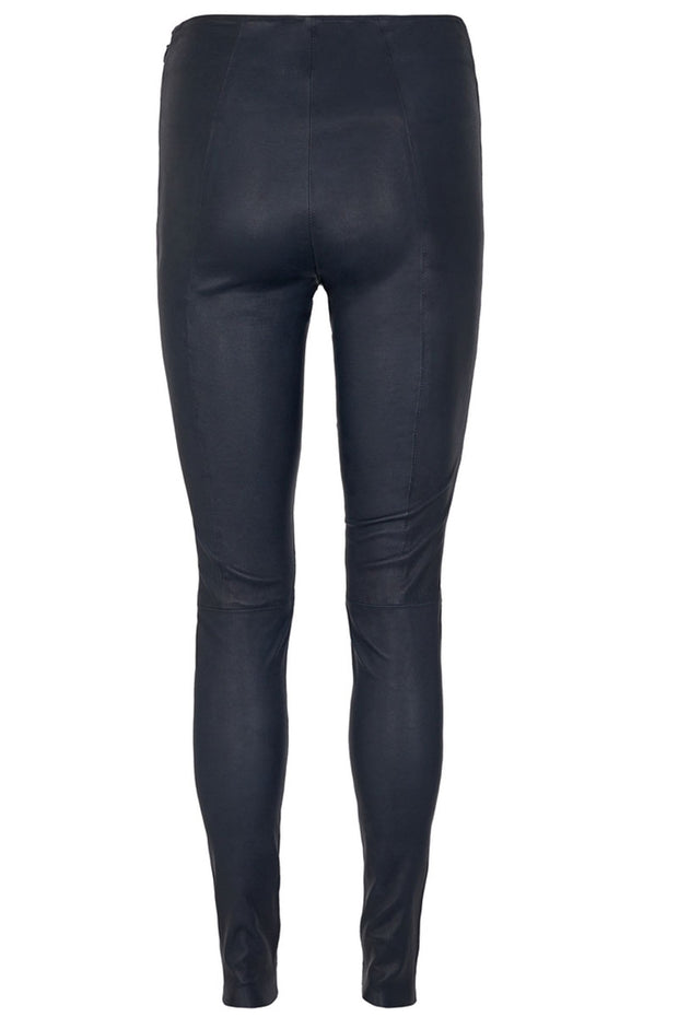 Lucille Stretch Leather Legging | Salute Navy | Læder leggings fra MOS MOSH