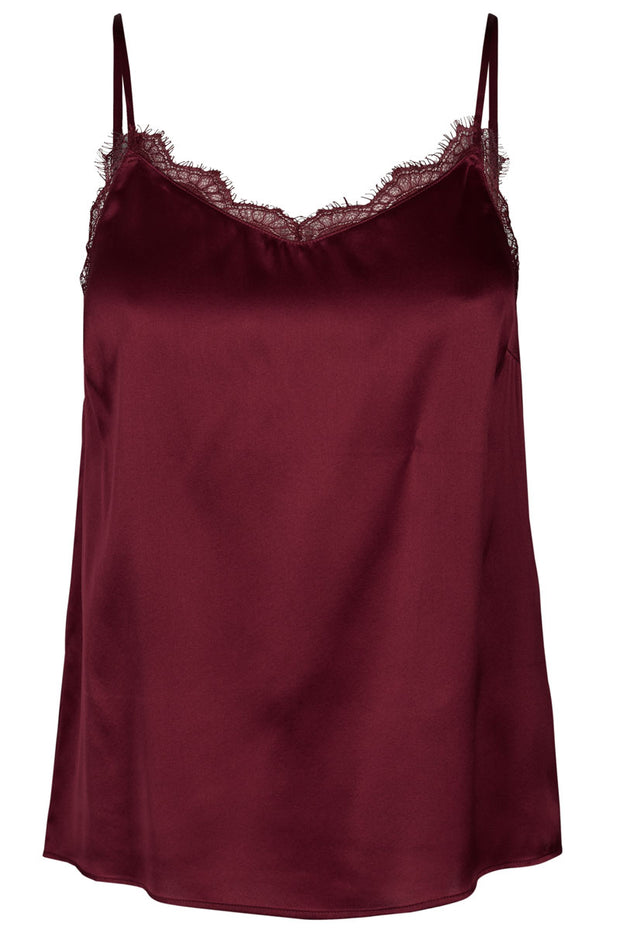 Ditte Lace Silk Singlet | Courage red | Silke top med blonder fra Mos Mosh