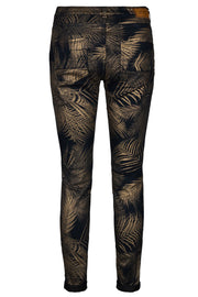Etta Trophy Pant | Salute Navy Printed | Jeans med guldprint fra Mos Mosh