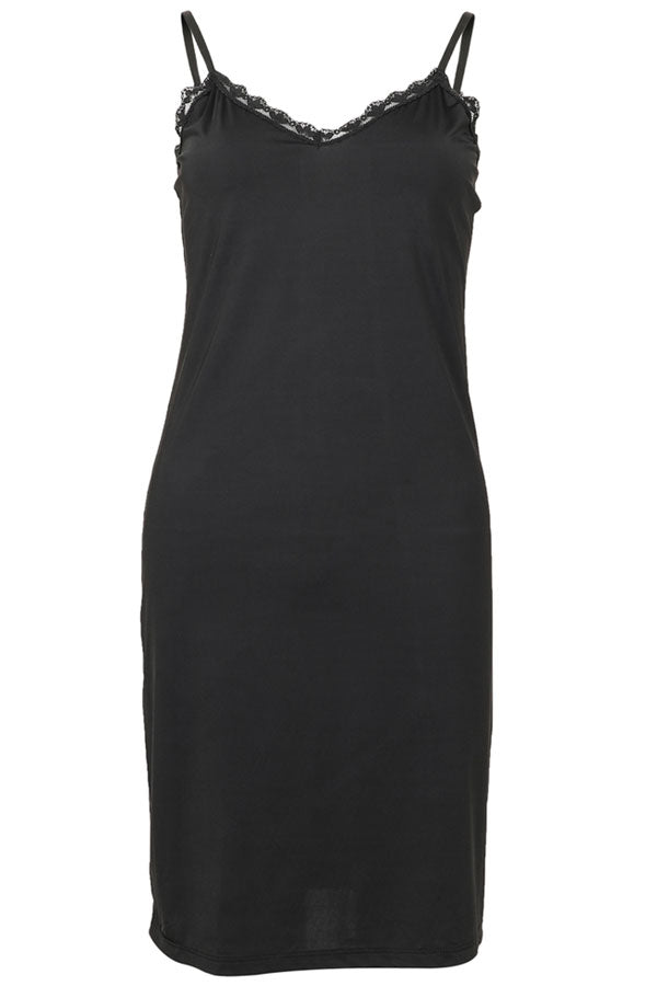 Linda Slipdress | Sort | Lang top med blondekant fra Neo Noir