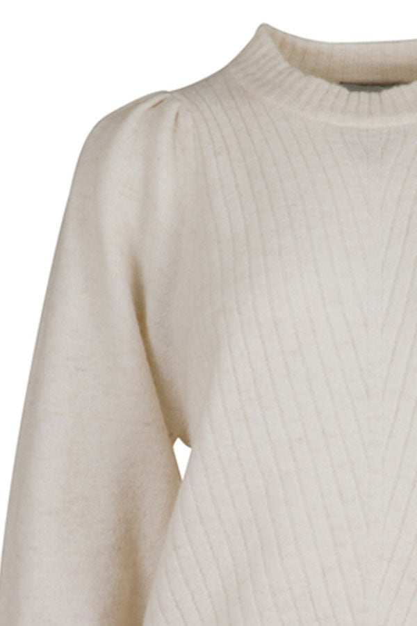 Kelsey Knit Blouse | Off White | Strikbluse fra Neo Noir