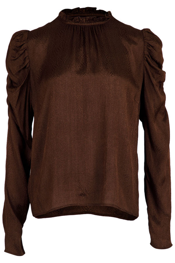 Letty Jacquard Blouse | Mocca | Bluse fra Neo Noir