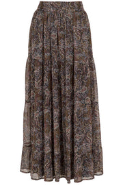 Lissa Winter Skirt | Winter garden black | Maxi nederdel med blomsterprint fra Neo Noir