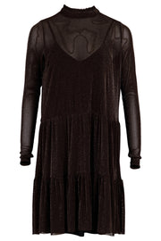 Kala Mesh Dress | Chocolate Brown | Kjole med glimmer fra Neo Noir