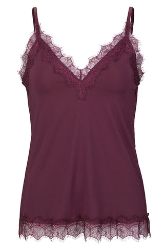 LACE STRAP TOP | 4217 | Bourgogne | Top med blonde fra ROSEMUNDE