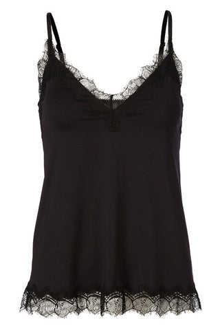 Sort Rosemunde top | 4217 | Strap top med blonde (Black)