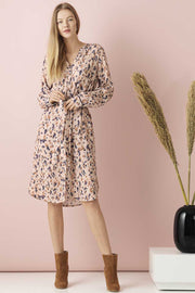 Woven Shirt Dress On Knee - U6034 | Rosa | Kjole med pletter fra Saint Tropez