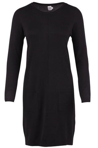 KNIT DRESS WITH POCKETS | Sort | Strik kjole med lommer fra SAINT TROPEZ